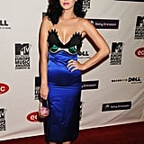 Who wouldn't bat a lash at Katy's cheeky satin Jean-Charles de Castelbajac dress? The singer teamed her brilliant blue creation with  bright yellow pumps and a jeweled cupcake clutch at the 2008 MTV Europe Music Awards.