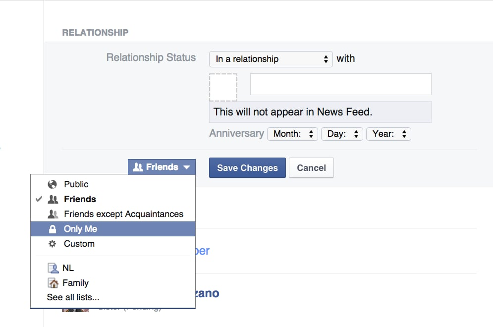 Sneakily Change Your Facebook Relationship Status