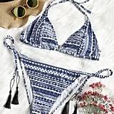 Zaful Plus Size Tribe Print String Bikini Set