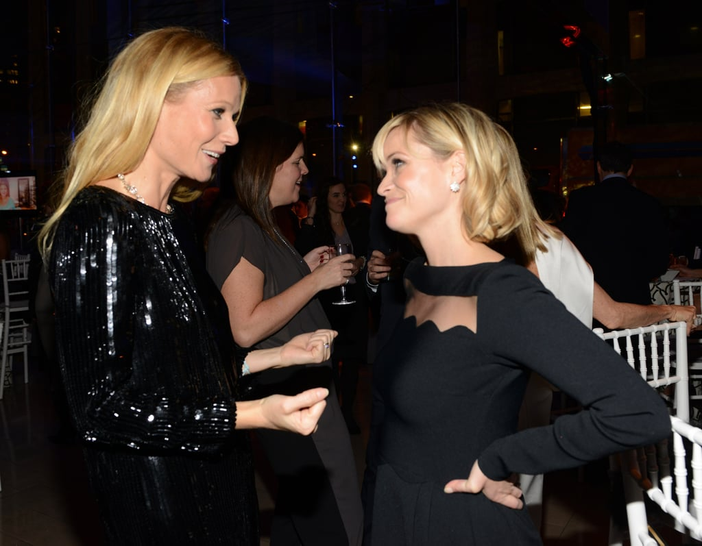 Gwyneth Paltrow chatted with Reese Witherspoon at the American Songbook charity gala at Lincoln Center in NYC on Monday.