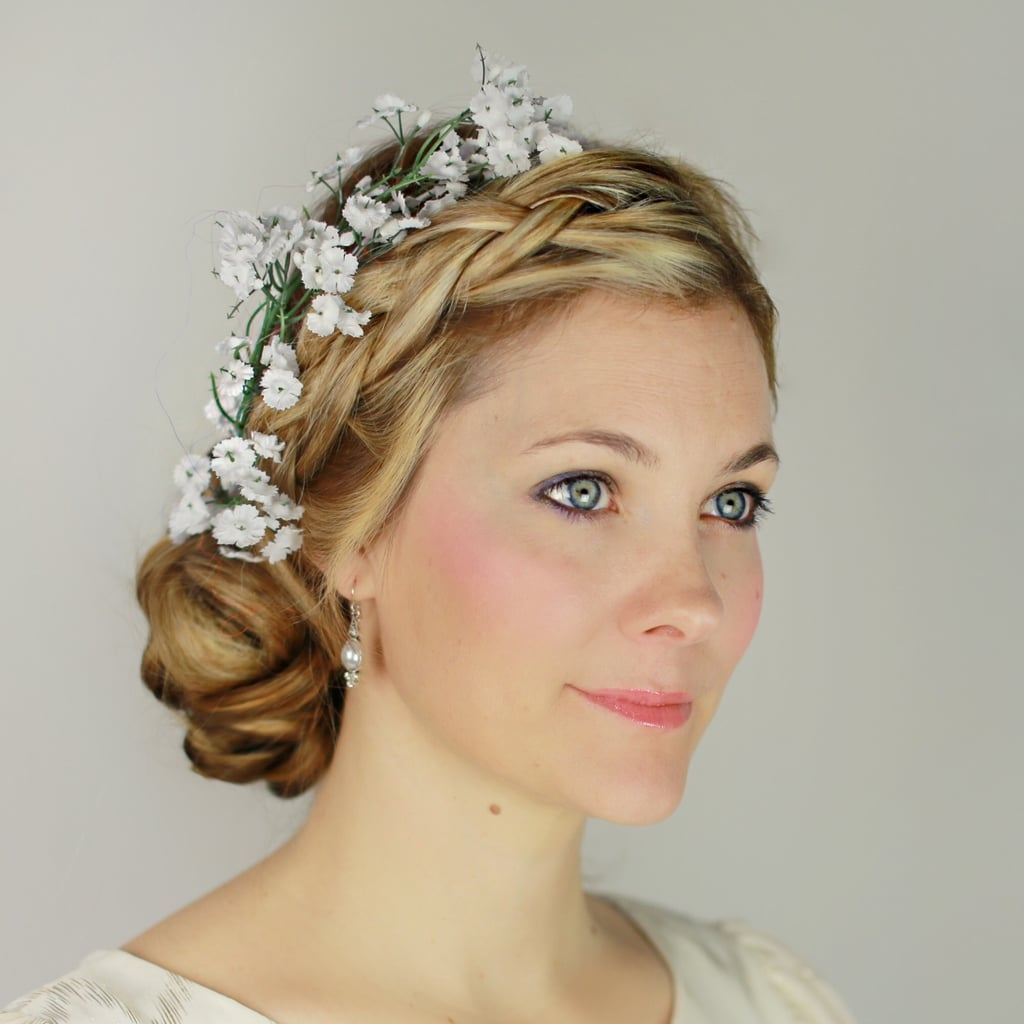 Wedding Hairstyles Diy: Braided Updo With Flowers DIY