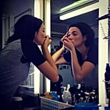 Samara Weaving snapped this pic of Home and Away co-star Demi Harman doing her own makeup for the show at 6am. We're impressed! Source: Instagram user samweaving