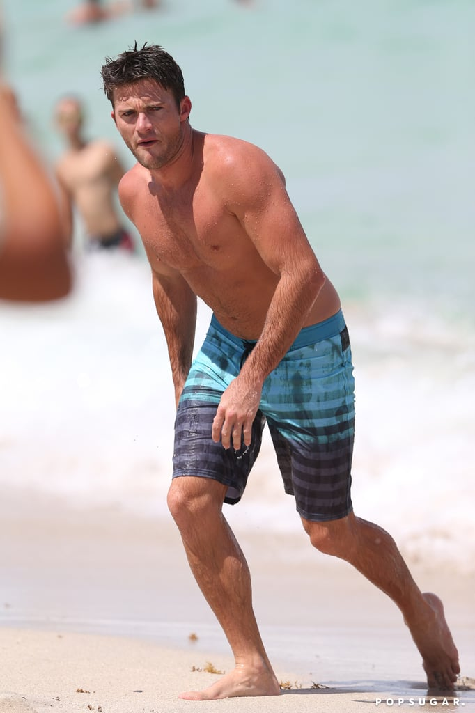 """Scott Eastwood took a break from filming Fast 8 to heat up the beach in Miami on Saturday afternoon. Clad in a pair of striped board shorts, the actor showed off his oh-so-fine physique while wading in the water and running on the beach, à la Baywatch. The fun day comes just a week after Scott participated in the Ocean Beach Pier Cleanup in San Diego as part of his campaign with Davidoff Cool Water and National Geographic. POPSUGAR got the chance to chat with him about his love for the ocean, and he told us, """"The ocean is somewhere where I can just forget about any of the bullsh*t going on in my life."""" Read on to see more of Scott's sizzling day in Miami, then check out even more hot photos of the actor — because why not?"""