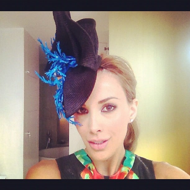 Rebecca Judd modelled her Kerrie Stanley headpiece. Source: Twitter user @becjuddloves