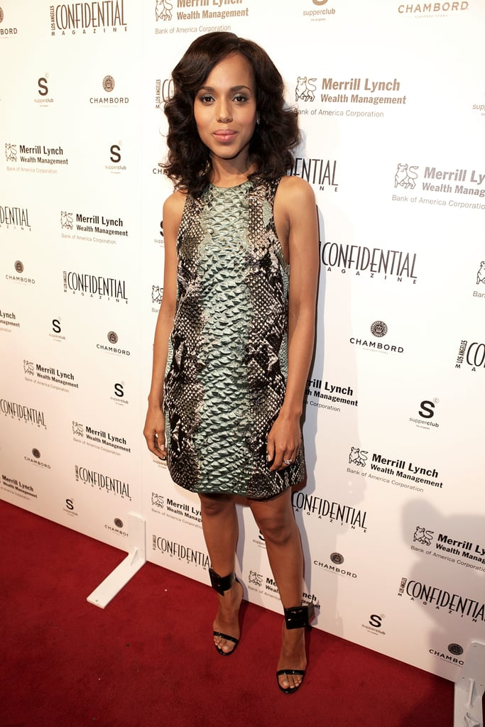 Kerry Washington showed off a statement-making party dress in Gucci's python-print shift, then accessorized with chic ankle-strap heels for an LA event.
