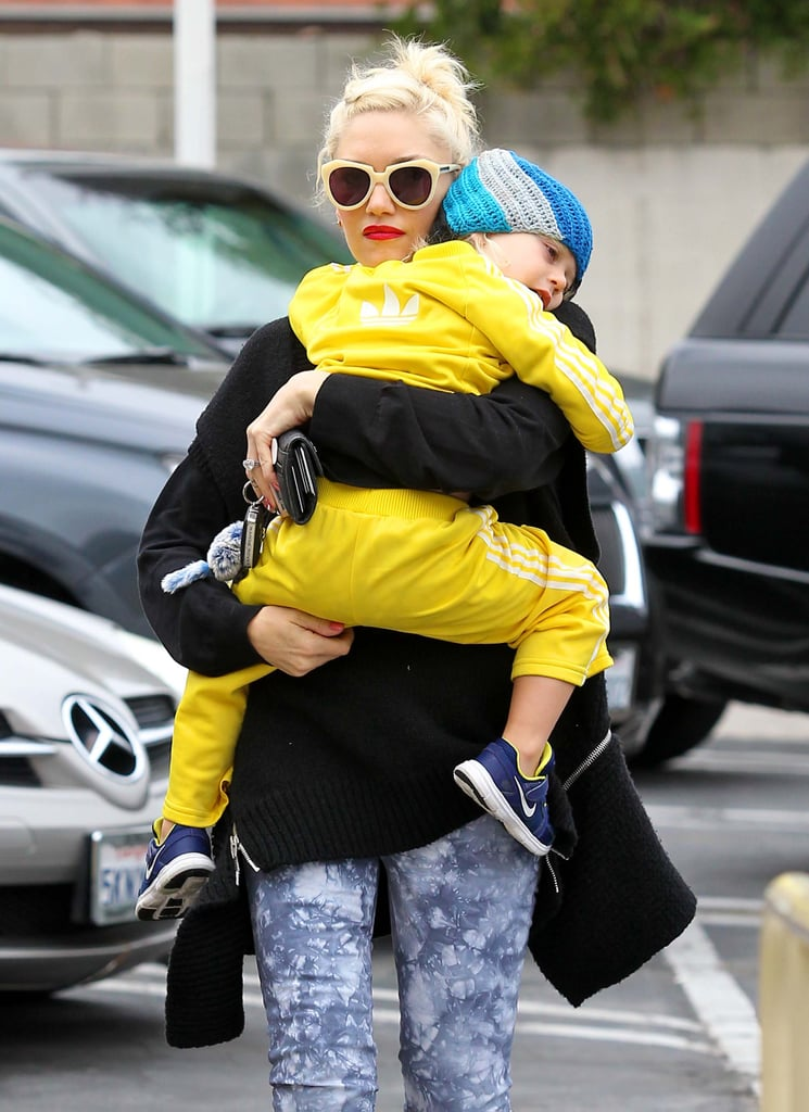 Gwen Stefani held tight to Zuma Rossdale in LA.