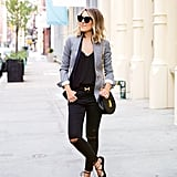A Gray Blazer, a Black T-Shirt, Black Jeans, and Black Flats