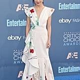 Rocking a floral Johanna Ortiz gown at the 2016 Critics' Choice Awards.