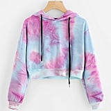 Shein Water Color Drawstring Crop Hoodie