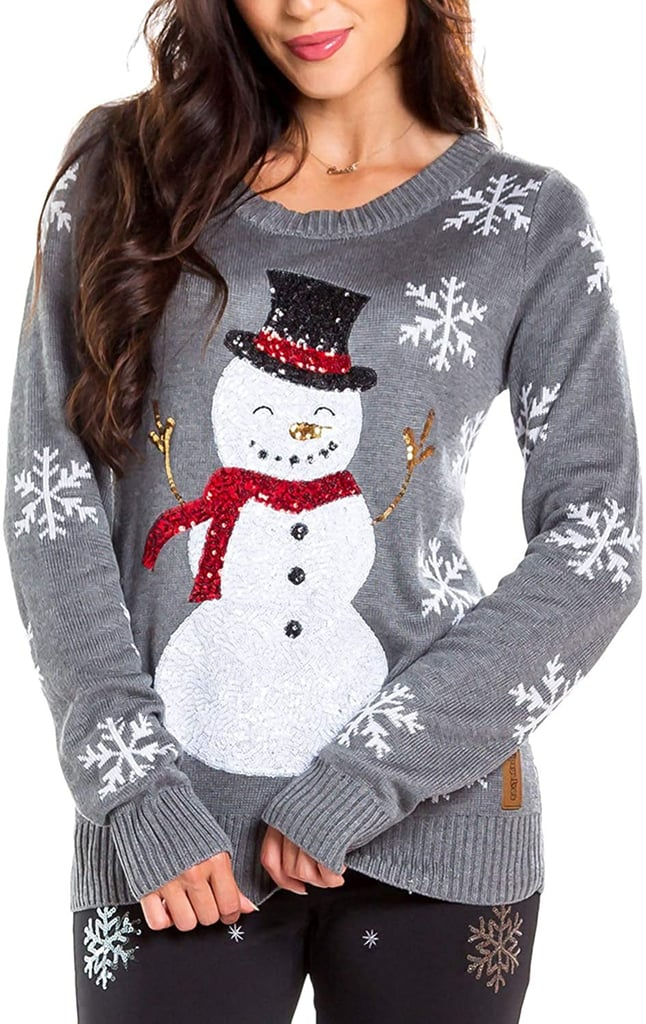 Sequin Snowman Christmas Sweater