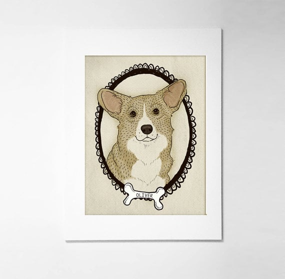 For the Corgi owner, these customizable prints ($15) can feature your dog's name in the bone.