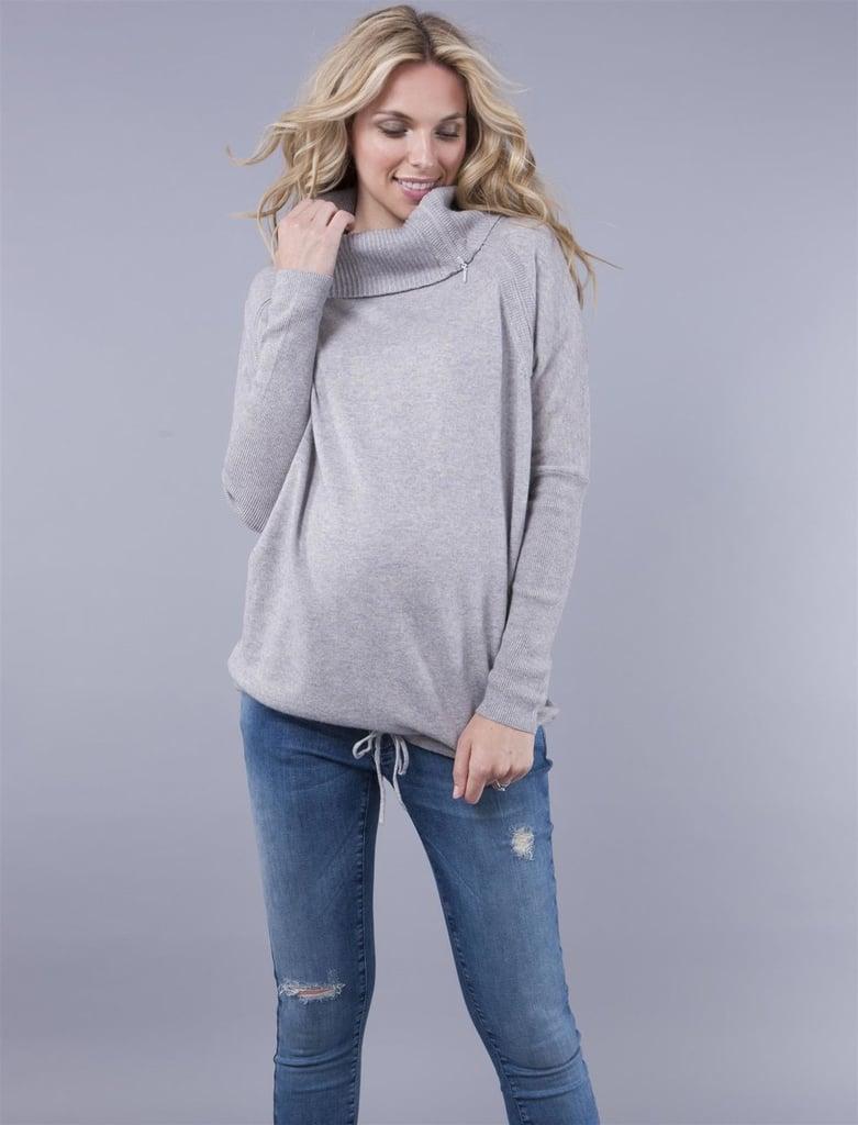 Grey Mock-Neck Sweater
