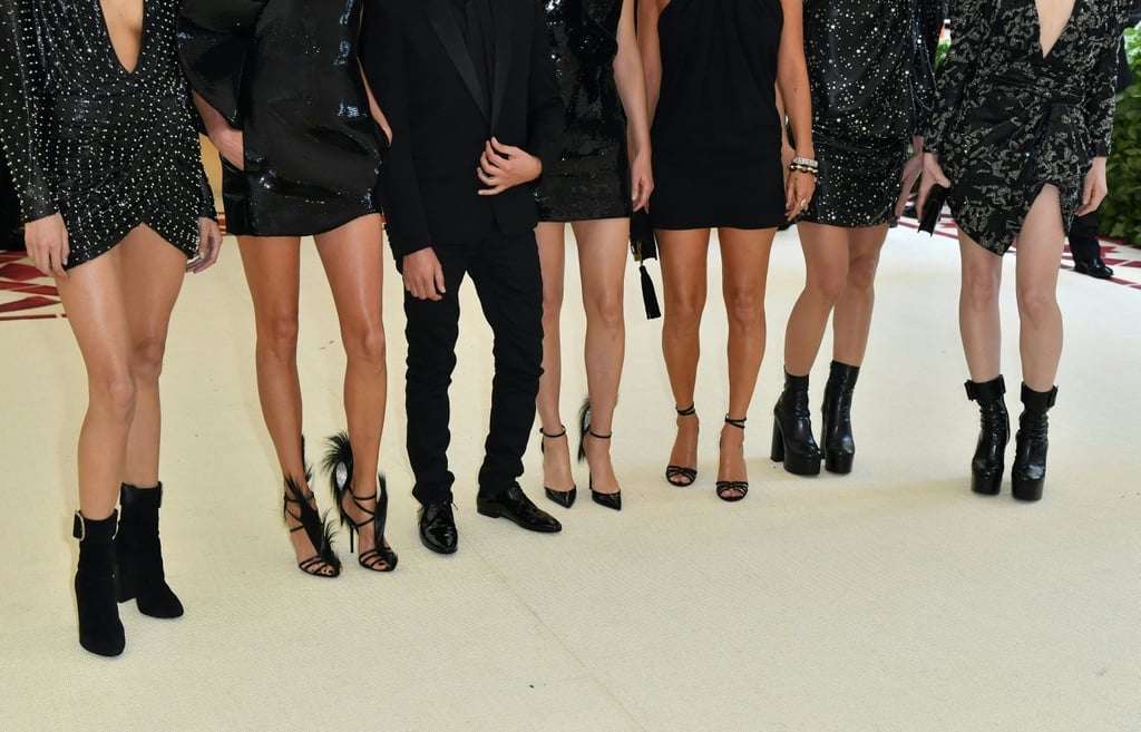 Mica Arganaraz, Anja Rubik, Anthony Vaccarello, Amber Valletta, Kate Moss, Charlotte Casiraghi, and Charlotte Gainsbourg