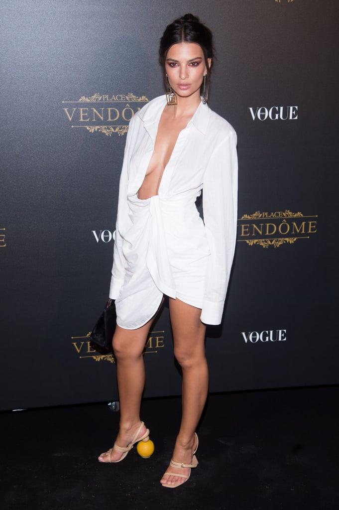 Emily Ratajkowski Wearing White Jacquemus Dress