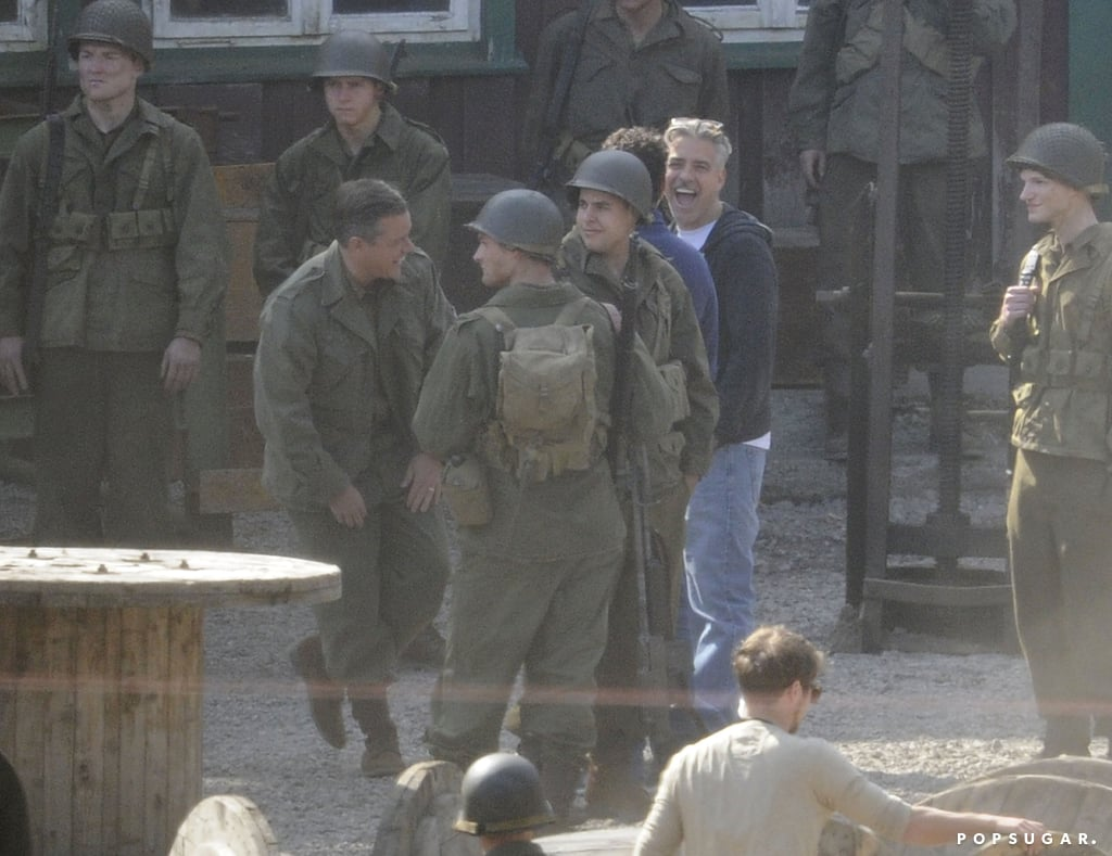 George Clooney and Matt Damon laughed on the set of The Monuments Men.