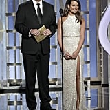 Lea Michele and Nathan Fillion presented together.