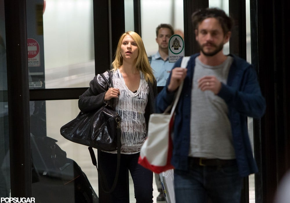 Claire Danes arrived at LAX with Hugh Dancy.