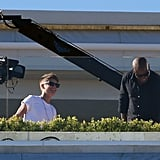 Justin Bieber met with L.A. Reid on the X Factor set.