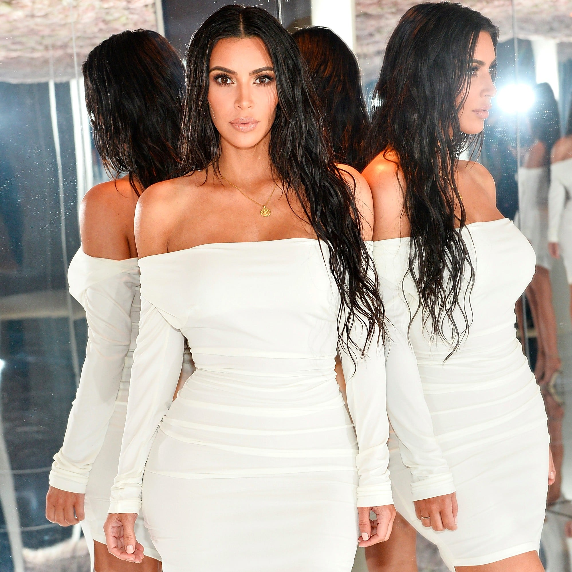 Kim Kardashian Wearing a White Dress | POPSUGAR Fashion