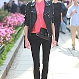 We love the pretty pink contrast in this otherwise downtown-cool approach to leather jacket styling. Source: Greg Kessler