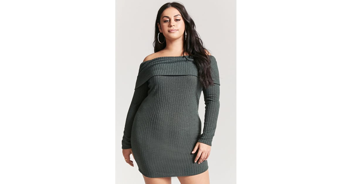 Forever 21 Plus Size Off The Shoulder Sweater Dress Kendall Jenner