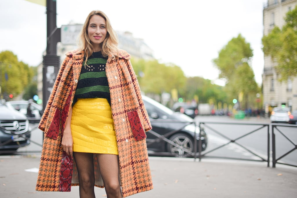 Checkered coat with bright separates