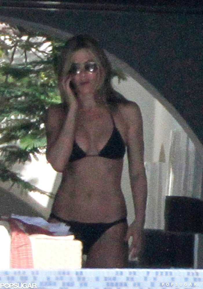 In May 2010, Jennifer Aniston donned a black bikini during a Mexico trip.