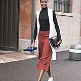 Movable Culottes, a Turtleneck, Sneakers, and a Vest