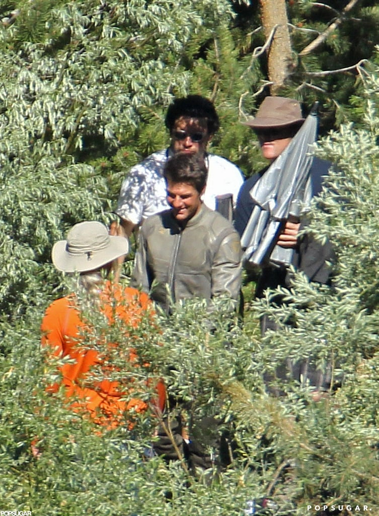 Tom Cruise looked happy filming on the Oblivion set in CA.