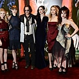 The Dark Shadows cast posed together at the Empire Leicester Square in London.