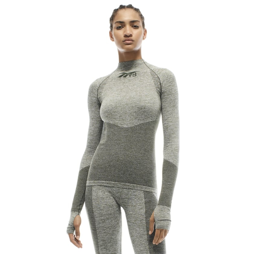 Reebok x VB Seamless Textured Long Sleeve Top — Green
