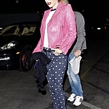 Gwen Stefani paired a pink jacket with her polka-dot pants.