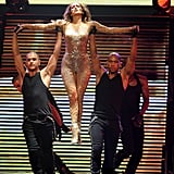 Jennifer Lopez was held by her dancers.