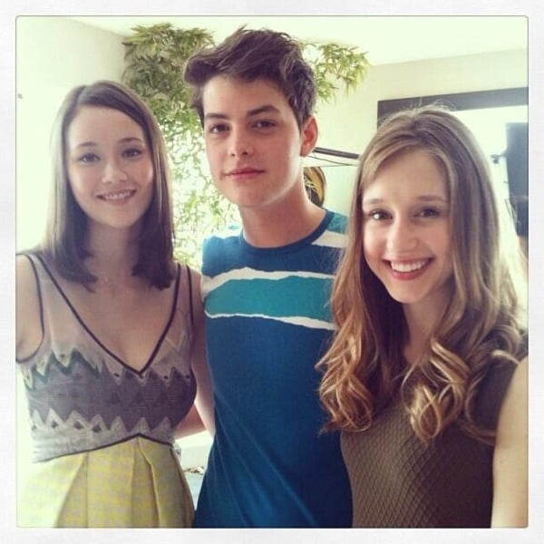 Israel Broussard posed with Katie Chang and Taissa Farmiga while on the road promoting The Bling Ring. Source: Instagram user israelbroussard