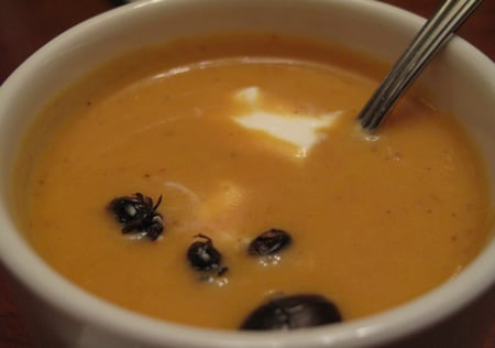 Dung-Beetle-Garnished Pumpkin Soup