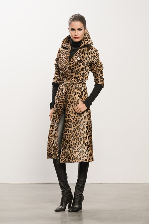 Leopard Calf Skin Trench, Cashmere Black Turtleneck Sweater , Sweet Revenge Black Leather Legging Boot. Photo courtesy of Tamara Mellon