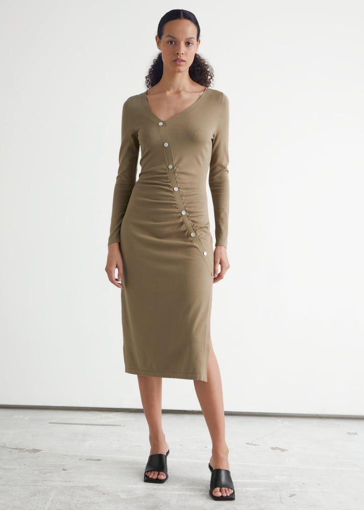 For a Sleek Day to Night Look: & Other Stories Buttoned Asymmetric Midi Dress