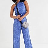 UO Miami Crinkle Linen One-Shoulder Jumpsuit