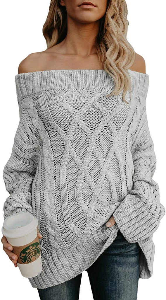 Astylish Knitted Off-the-Shoulder Oversized Sweater in Gray
