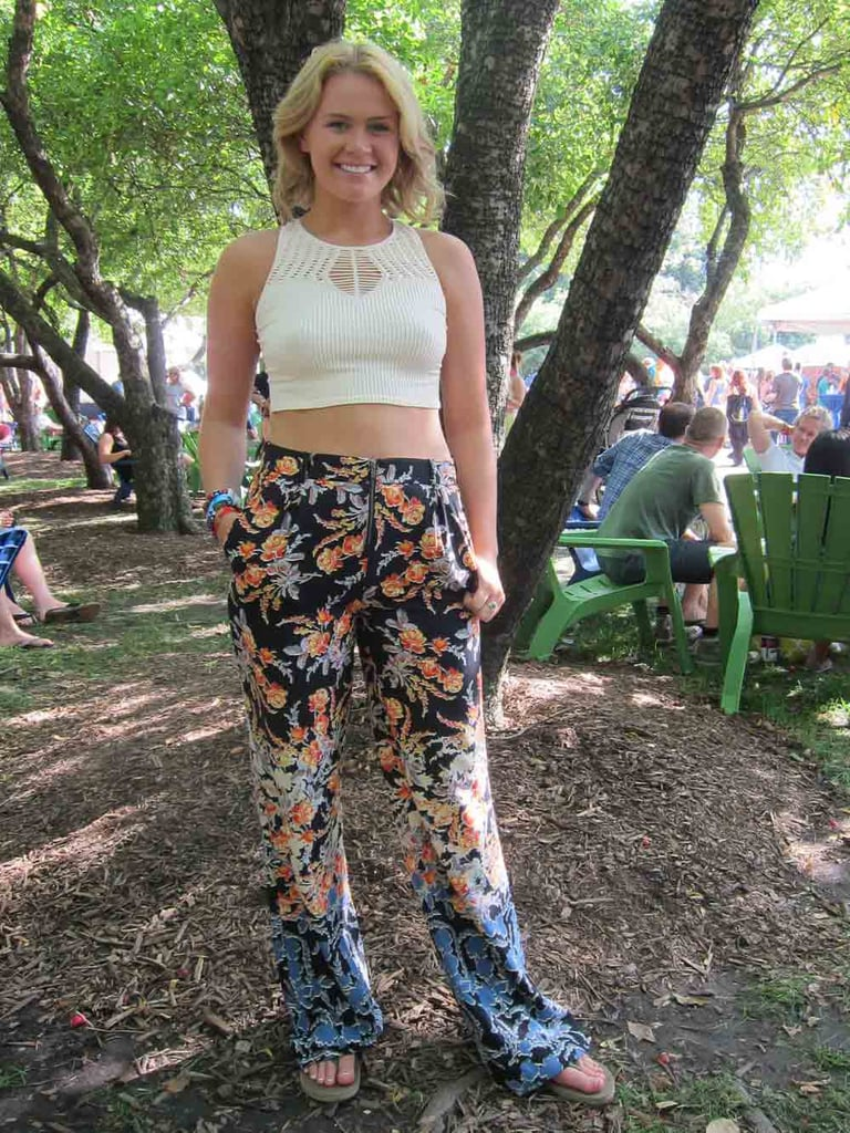 We'd wear Tori's floral-print BCBG Max Azria pants to the office! We love how she paired them with a cream Free People crop top for the festival but strongly encourage her to get as much use out of them as possible.