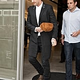 David Beckham stopped by his wife Victoria's new flagship in London on Wednesday.