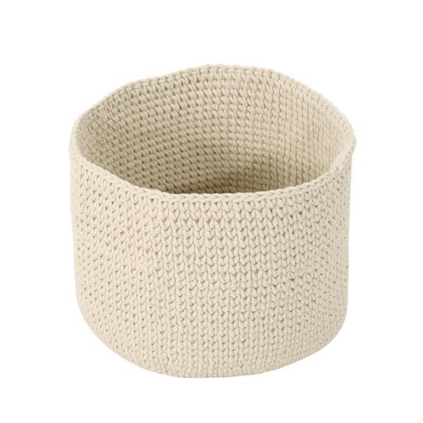 Noble House Derry Round Knitted Cotton Thread Sundries Basket Beige