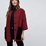 Helene Berman Faux Fur Houndstooth Kimono Coat