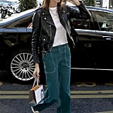 Kaia Gerber Rocked a Black Leather Jacket With Green Jeans After the Chloe Show