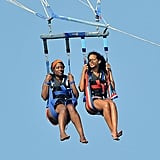 Rihanna went up in the sky with a friend.