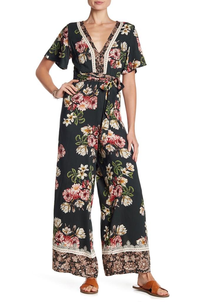 38423f35818e Angie Floral Back Cutout Jumpsuit