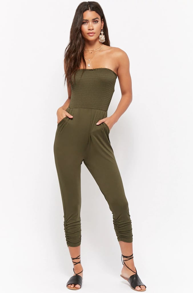 Forever 21 Smocked Strapless Jumpsuit