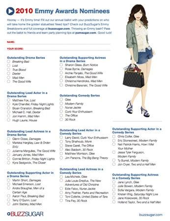 Printable Emmy Ballot For 2010 2010-08-20 07:30:00