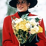 At the family's annual Christmas Day church outing in 1993, Diana accessorized her scarlet coat with a black asymmetric hat with a high crown.