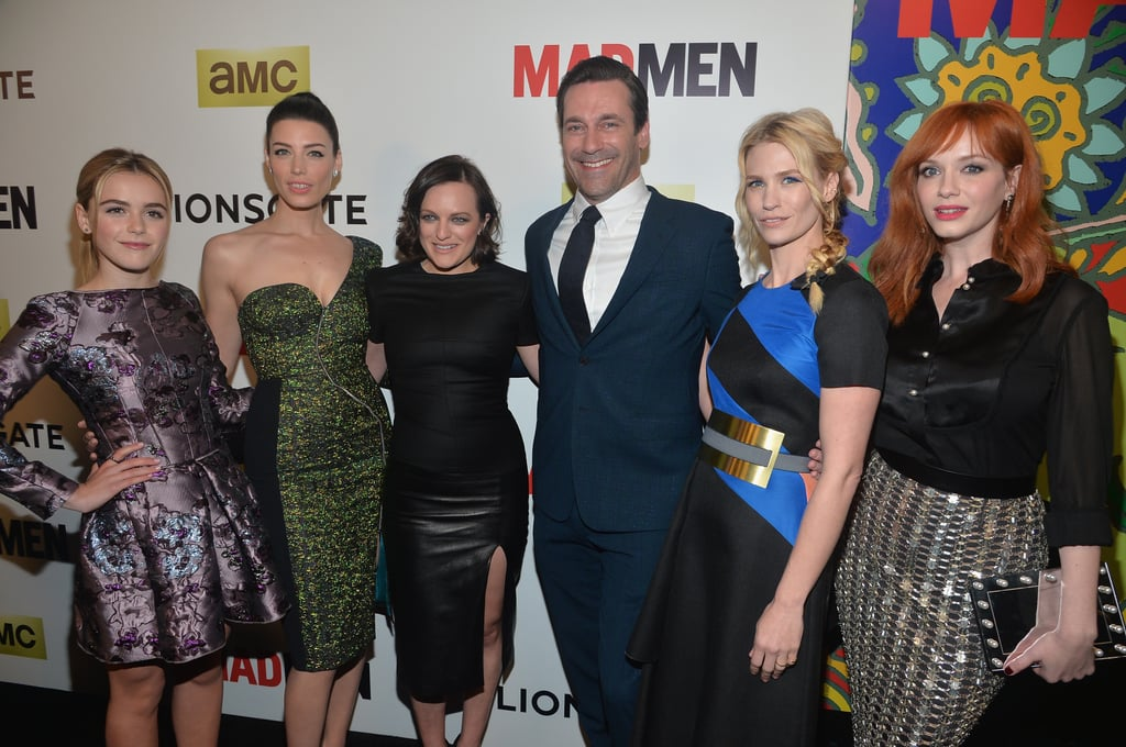 Jon Hamm was surrounded by his beautiful costars when they celebrated the seventh season premiere of their show in LA on Wednesday.